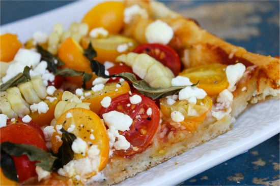 Foccaccia heirloom tomatoes and goat cheese recipe