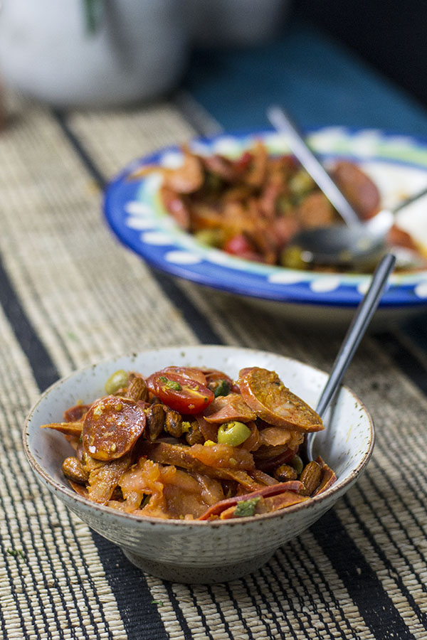 Spanish Chorizo and tomato keto salad recipe